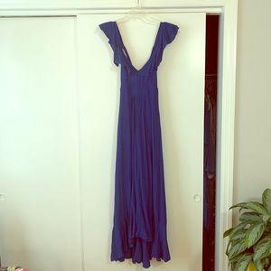 Blue Criss Cross Ruffle Dress